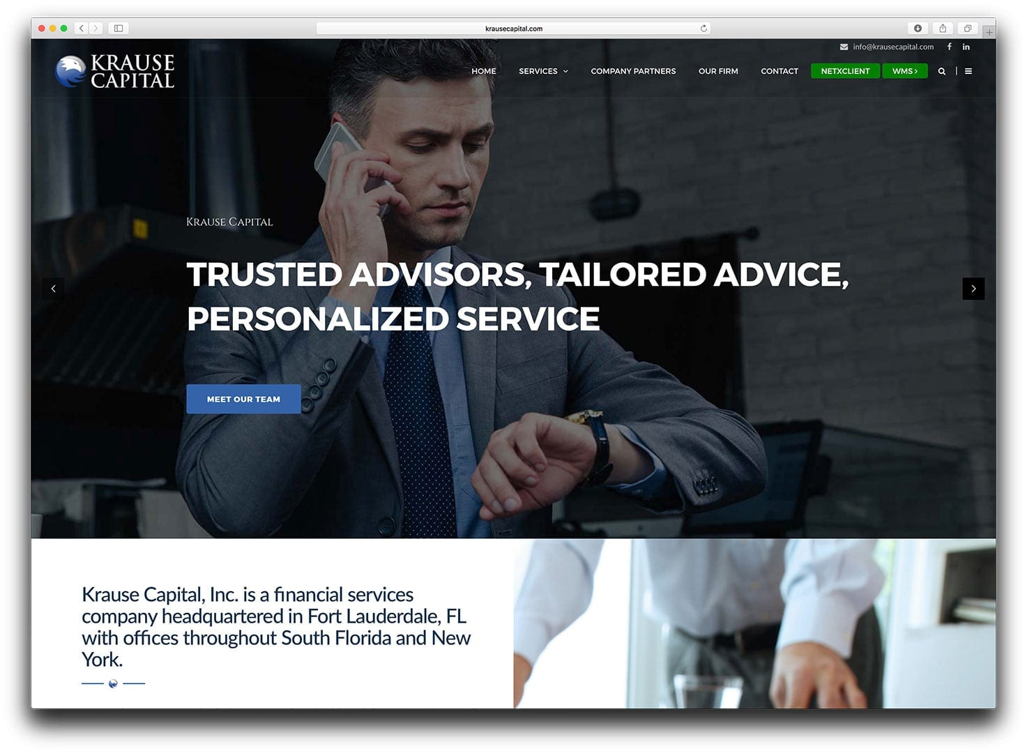 Krause Capital Web Design - Finance Web Design - After - sliStudios - Miami Beach