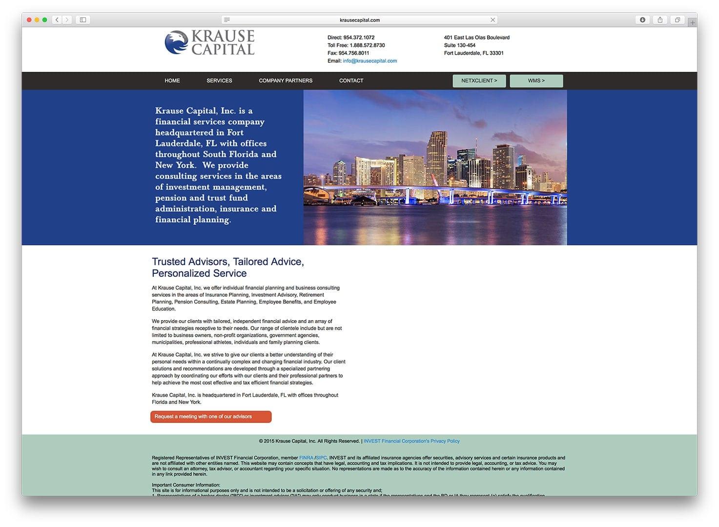 Krause Capital Web Design - Finance Web Design - sliStudios - Miami Beach
