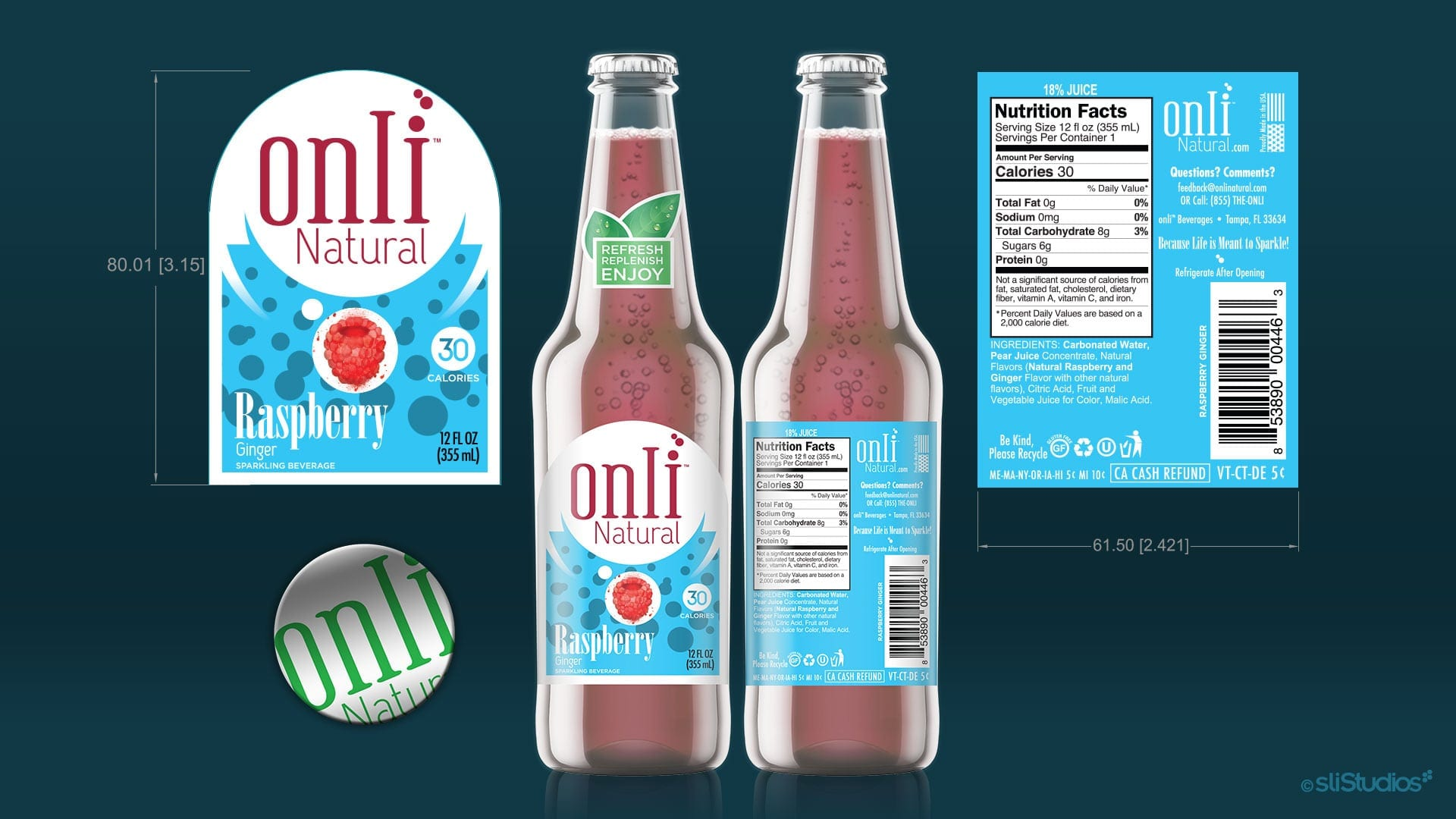 Onli Natural Beverage Branding - sliStudios Miami