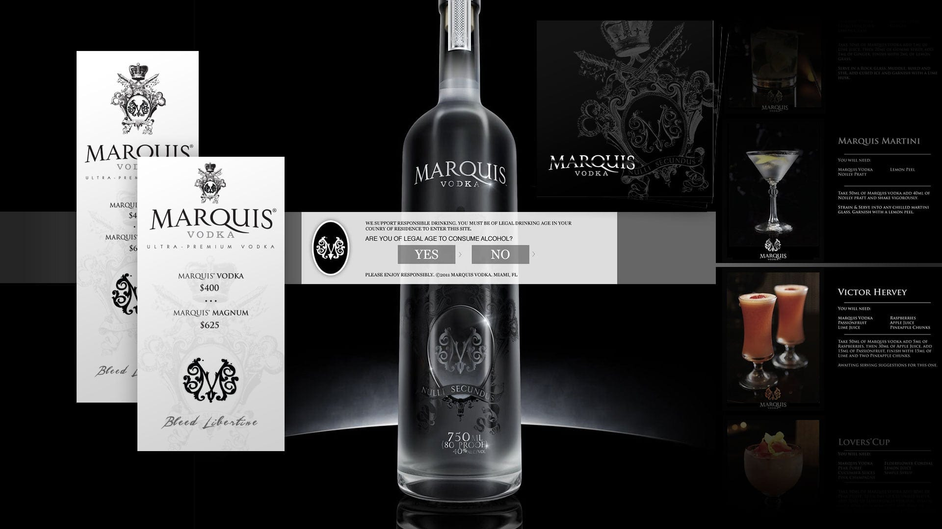 Marquis Vodka Asset Beverage Branding Design - Website, Bottle Sticker and Marketing assets - sliStudios - Miami