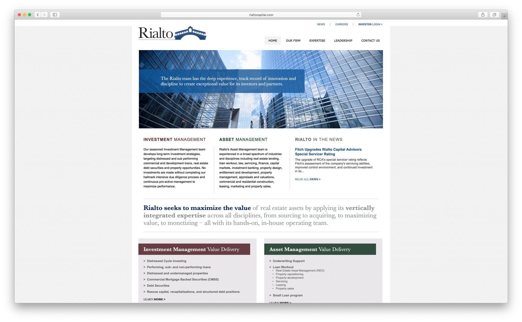 Rialto Capital - Old Website Design