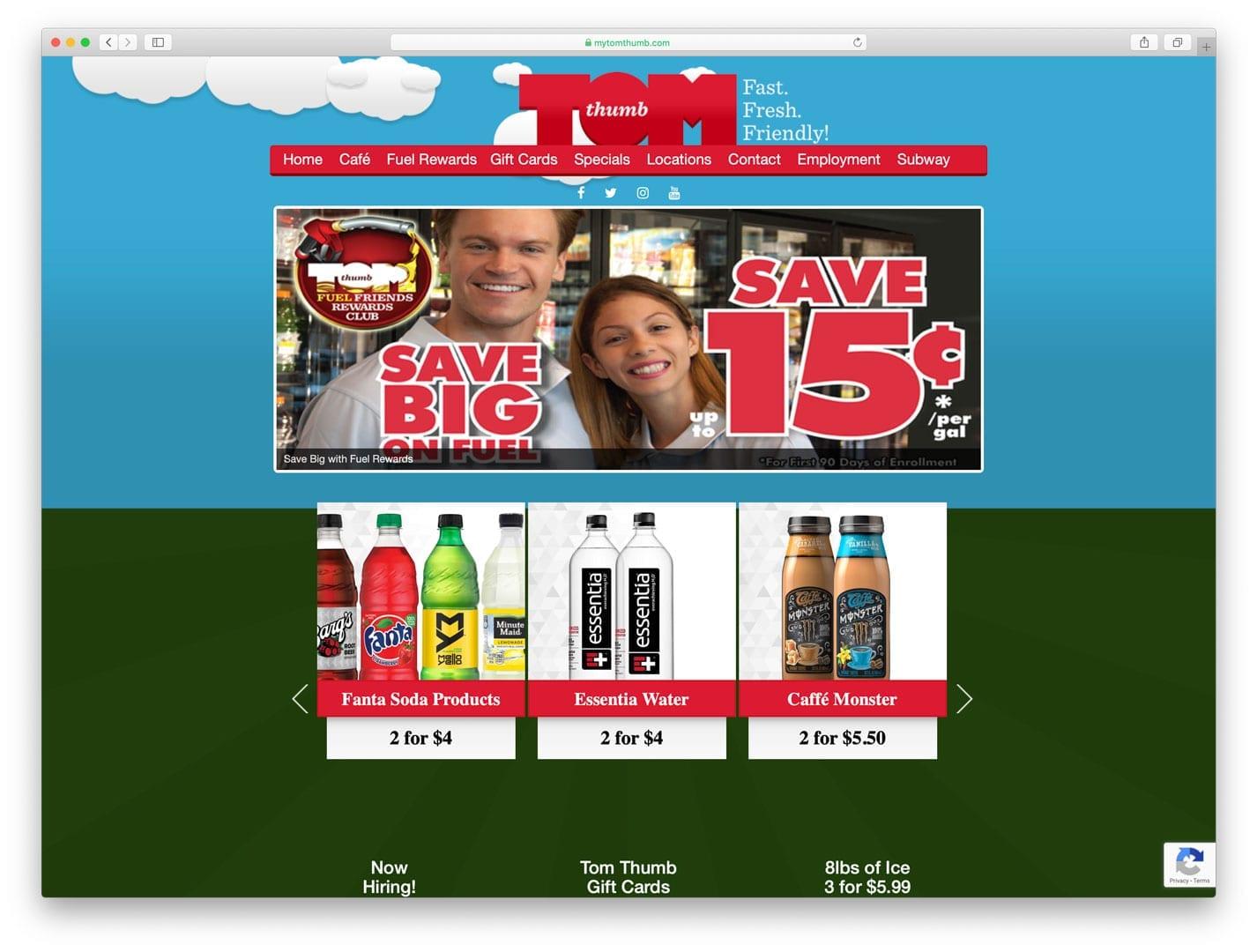 Tom Thumb Food Stores Old Website Design