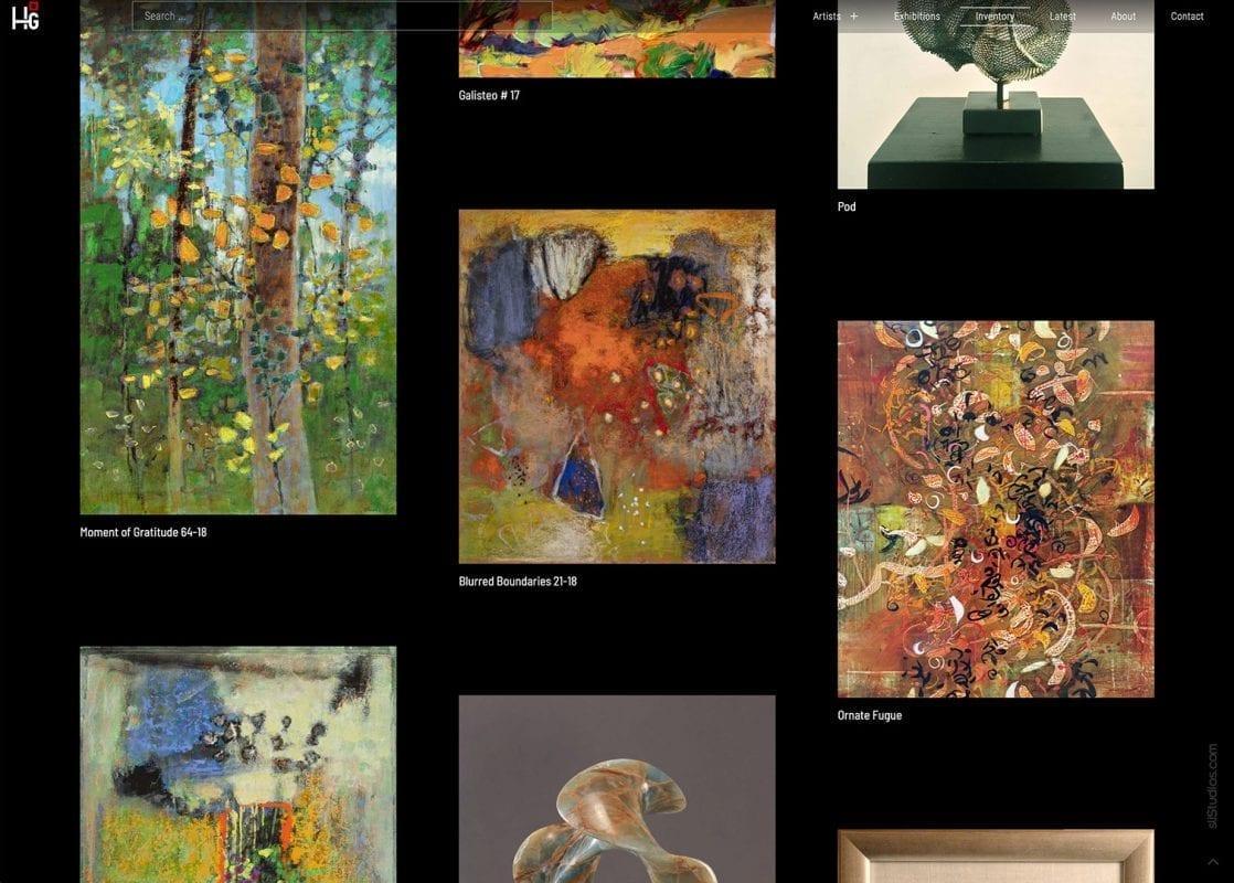 Inventory Search Page - Hunter Squared Gallery - sliStudios Website Design Miami