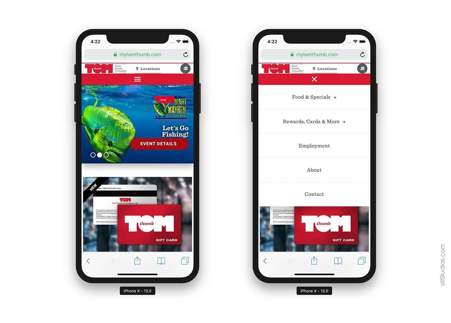 Mobile Website View - mytomthumb.com - sliStudios Web Development