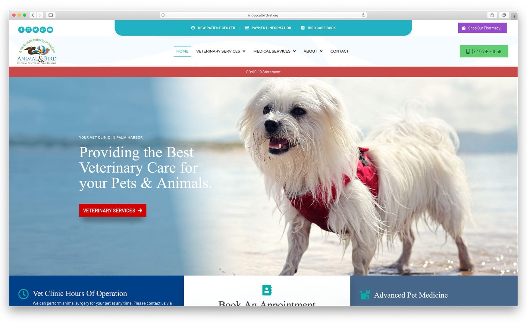 Animal & Bird Medical Center of Palm Harbor Website Design by sliStudios | Miami