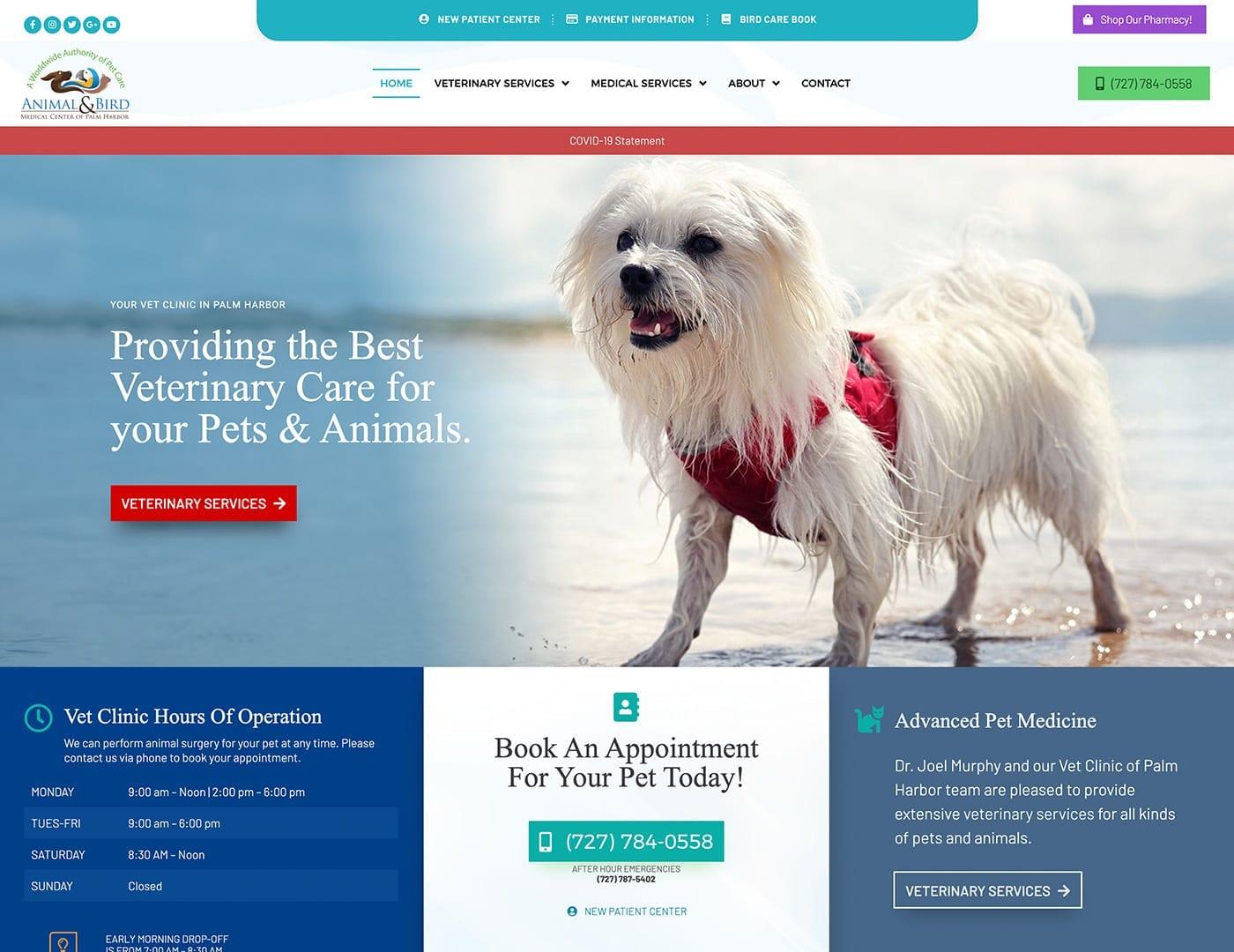 Website Home Page - dogcatbirdvet.org - sliStudios Website Design   Miami