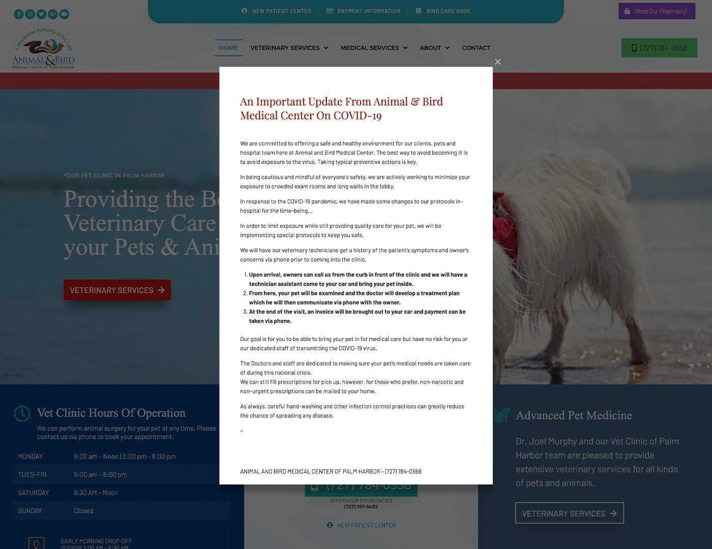 COVID-19 Popup - dogcatbirdvet.org - sliStudios Website Design   Miami