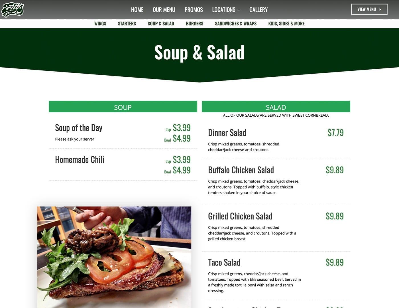 Scrollable Restaurant Menu - Restaurant website design - sliStudios | Miami