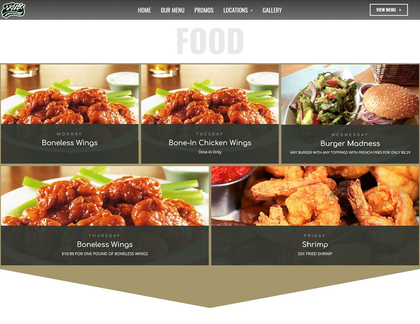 Daily Specials - Restaurant website design - sliStudios   Miami