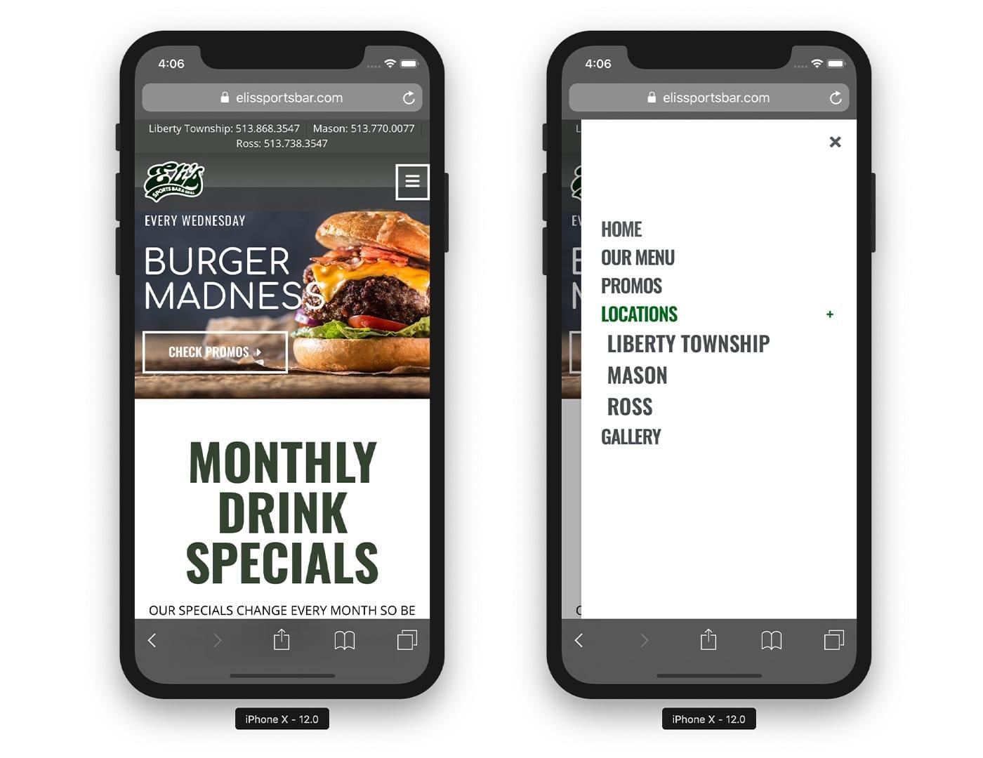 Mobile Website View - Restaurant website design - sliStudios   Miami