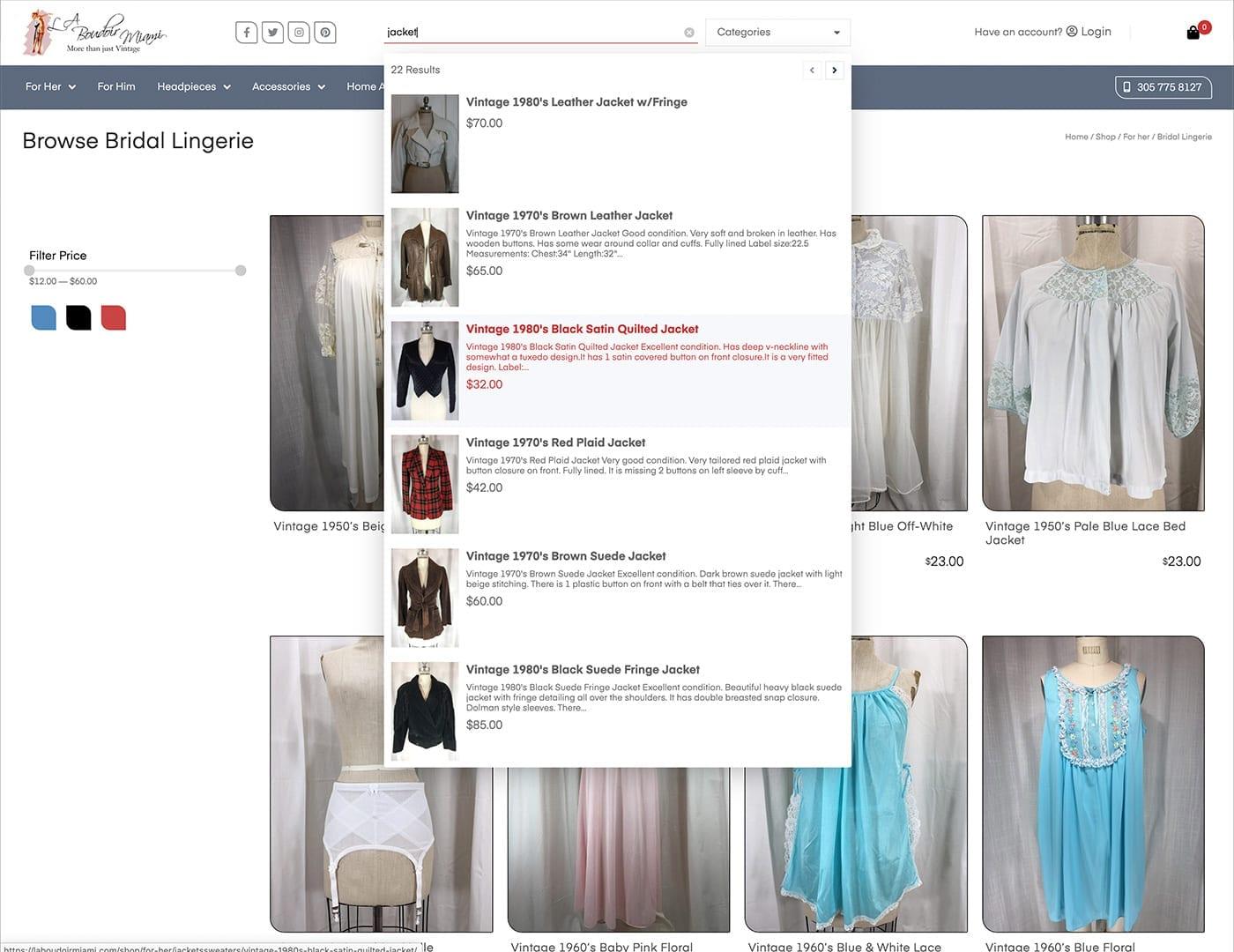 Live Product Search - laboudoirmiami.com - Online Store Built with bizProWeb | Miami