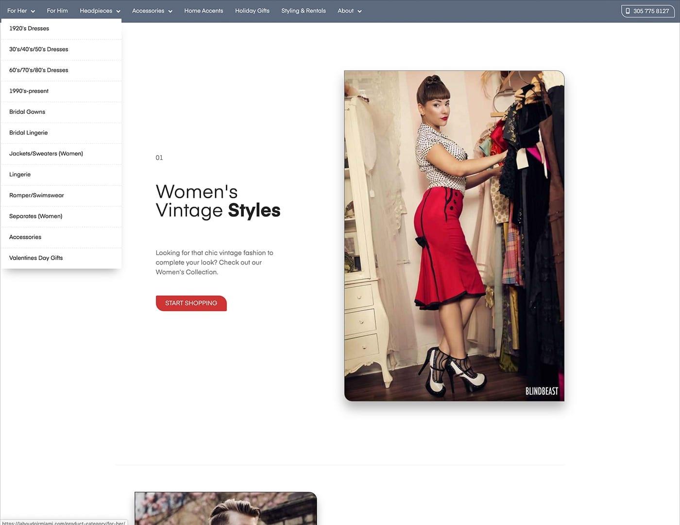 Mega Menu and Landing Pages - laboudoirmiami.com - Online Store Built with bizProWeb | Miami