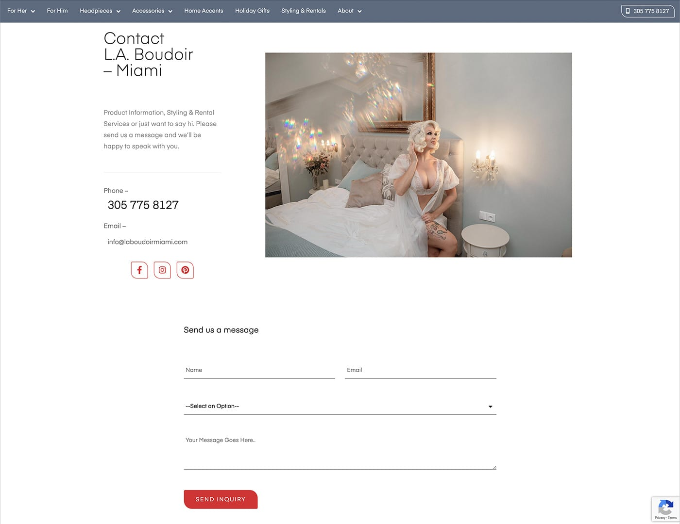 Form Builder with Google ReCaptcha v3 - laboudoirmiami.com - Online Store Built with bizProWeb | Miami
