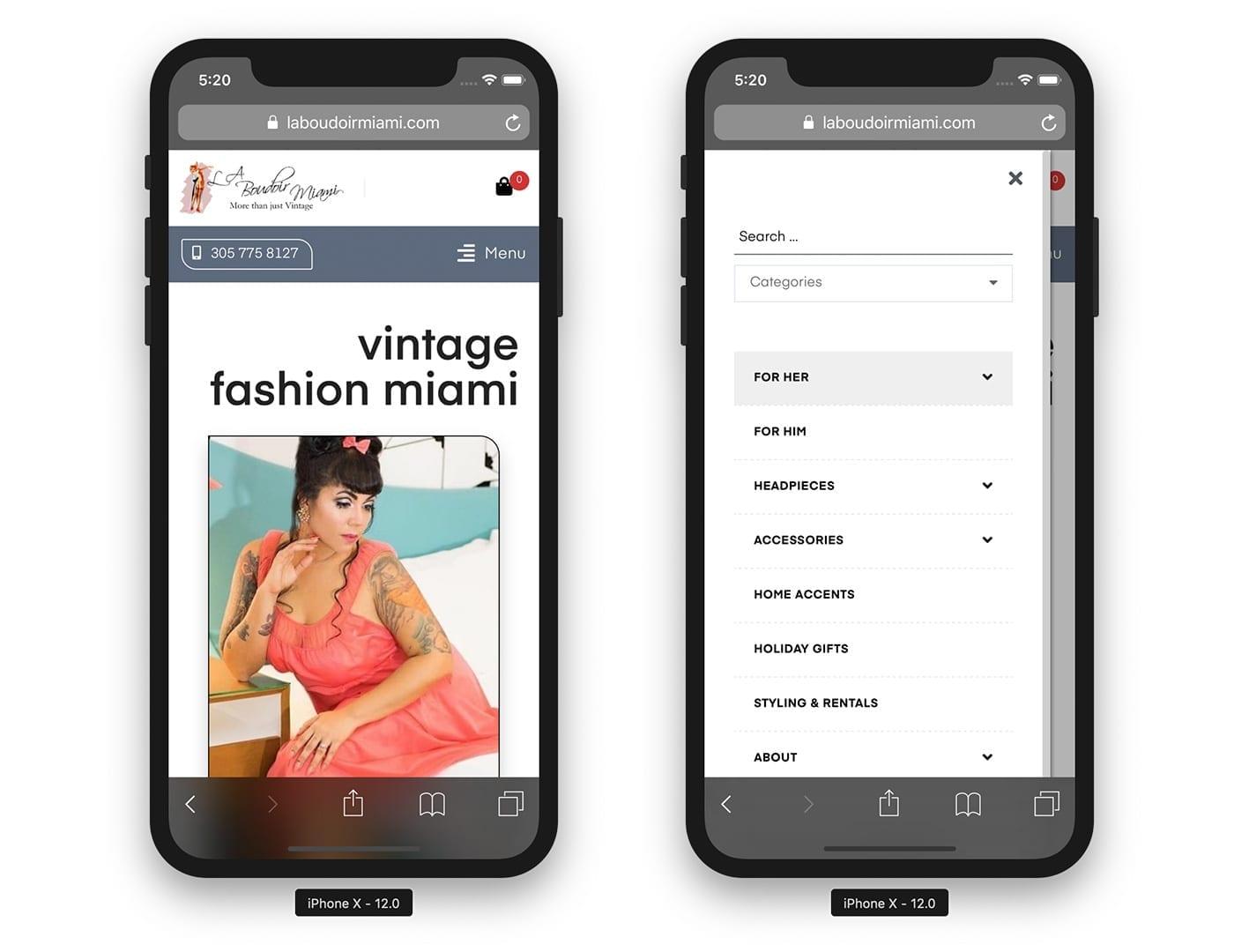 Mobile Website View - laboudoirmiami.com - Online Store Built with bizProWeb | Miami
