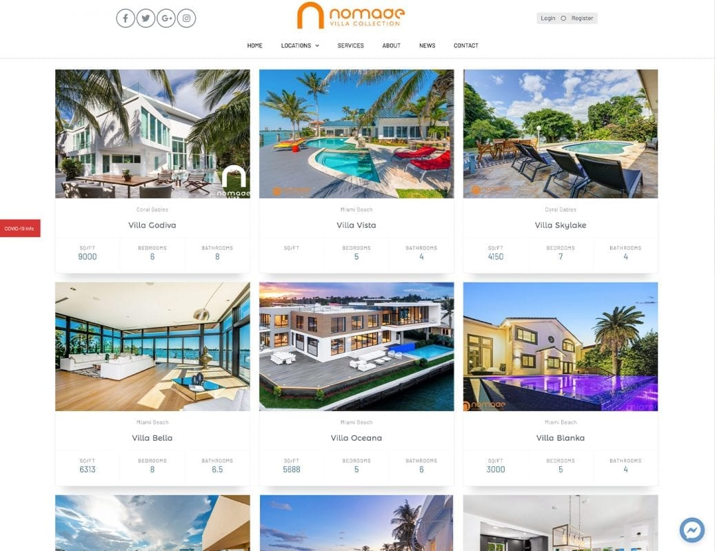 Property Listings – nomadevillacollection.com - Website Design by sliStudios | Miami