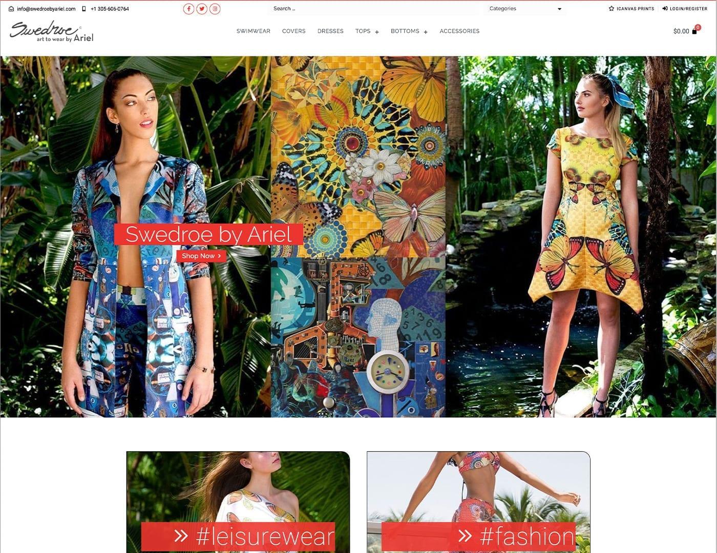 Home Page Design – swedroebyariel.com - Online Store built with bizProWeb - Website Design by sliStudios | Miami