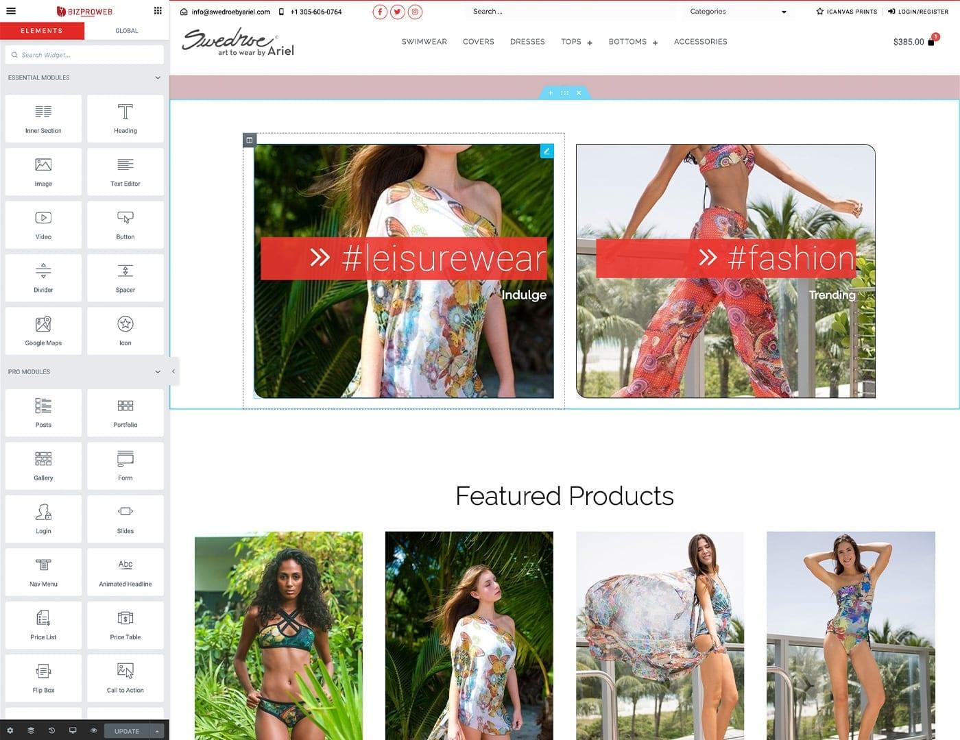 Editing Pages with bizProWeb – swedroebyariel.com - Online Store built with bizProWeb - Website Design by sliStudios | Miami