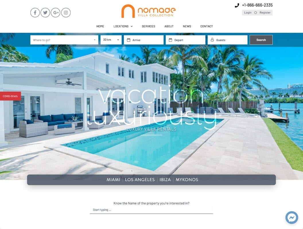 Nomade Villa Collection – nomadevillacollection.com - Website Design by sliStudios | Miami